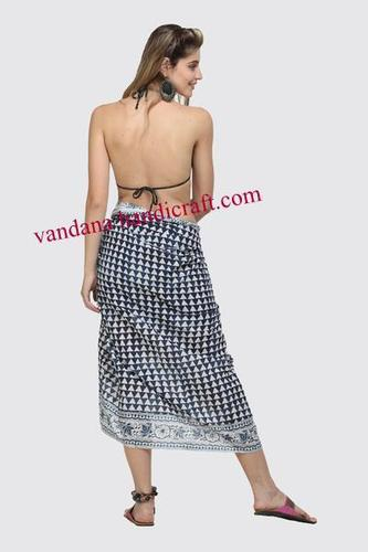 c4c74fa8f4 Indian Hand Block Print cotton soft Large Sarong Beach Pareo Dress Wrap  Swimwear