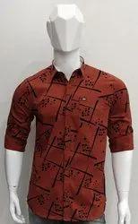 Printed Collar Neck Mens Cotton Shirt