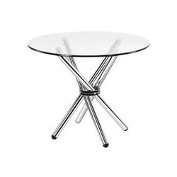 Stainless Steel Modern Round Glass Top Table