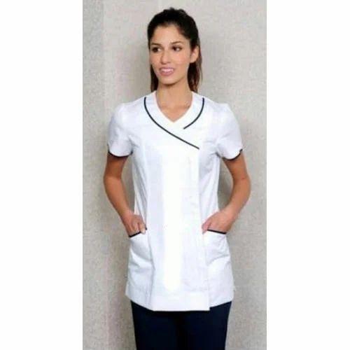 White nylon spa uniform set rs 1600 set diamond uniform for Spa uniform white