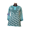 Ladies Lucknowi Short Chikan Kurti, Size: S, M And L