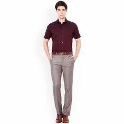 Poly Cotton Collar Neck Mens Maroon Half Sleeves Shirt, Machine wash, Size: 36-44 (xs - Xxl)