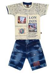 Little Hub Round Neck T-shirt and Denim shorts Denim Suit