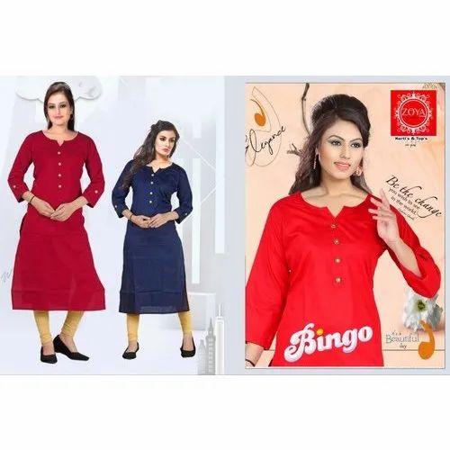 Zoya Plain Designer Cotton Kurti, Size: M, L, Xl, XXL