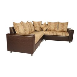Brown Leather Corner Sofa Set, Size: 22-26 Inch (Height)