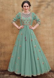 Mint Embroidered Rayon Gown