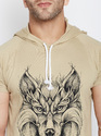 Men Printed Half Sleeve Hooded T-Shirt