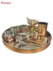 Stainless Steel / Copper Thali Set (12 Pcs)