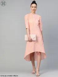 Cotton Nayo Women Peach & Solid A-Line Dress, Size: XS-XXXL