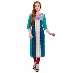 Ladies Cotton Printed Ethnic Kurti, Size: S - XXL