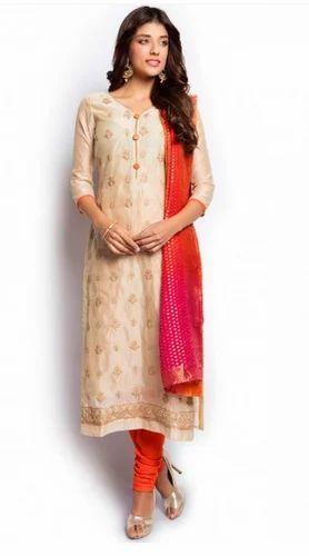 ce093d6594 Beige And Orange Salwar Suit, Sarees, Lehenga And Salwar Suits ...