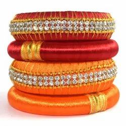 Red and Orange Silk Thread Bangles