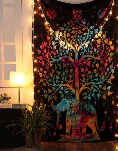 Printed Rectangle Indian Ethnic Embroidered Cloth Elephant Wall Hanging