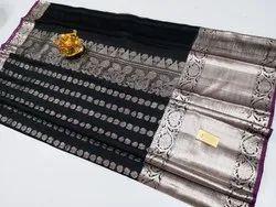Silver Jari Kanchi Silk Sarees With Blouse Piece