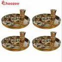 Choozee Copper - Thali Set of 4 (28 Pcs)Thali, Bowl, Spoon & Matka Glass
