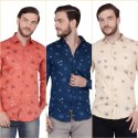 FnX Men's Satin Printed Full Sleeves Casual Shirt