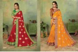 Red Color Designer Vichitra Silk Saree With Banarasi Border