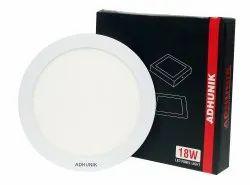 Adhunik Pure White 18 W Round Slim Panel Light, IP Rating: IP20