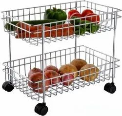 Kite Stainless Steel 202 Fruit And Vegetable Trolley for Hotel, Load Capacity: 8 Kg