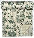 Lotus Printed Cotton Kantha Bed Cover