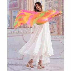 Cotton Anarkali Ladies White Plain Suit, Handwash
