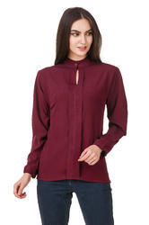 Ladies Maroon Full Sleeve Top, Size: M & L