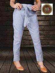 Lining Ladies Fancy Cotton Pants, Size: 24-36