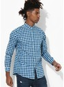 Mens Blue White Checks Shirt
