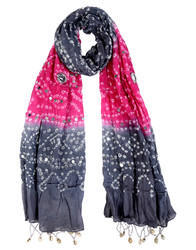 Women Bandhani Bandhej Mirror Work Neck Wrap Stole Scarf