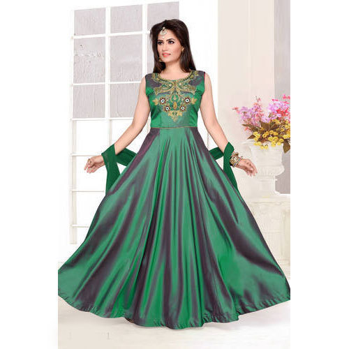 Satin Silk Designer Anarkali Frock Suit Size L Xl Xxl Rs 3095