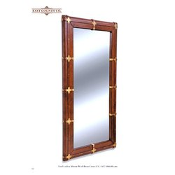 Rectangular Brown EC-142 Tan Leather Mirror With Brass Cross, Size: 180x90 Cms