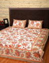 Floral Hand Block Cotton Hand Loom Bed Sheet with Pillow Cover