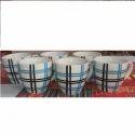 Ceramic Strip Print Coffee Mugs