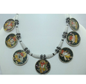Temple Jewellery Silver God Ganesha Painting Necklace