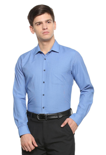 Peter England Plain Blue Shirt