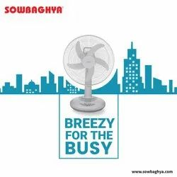 sowbaghya White And Grey Rechargeable Table Fan 16 inch, 400 mm