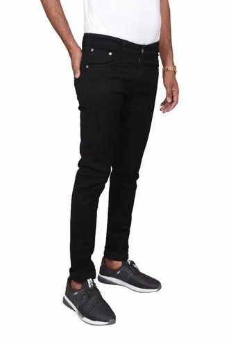 Slim Fit Casual Wear MEN BLACK DENIM JEANS, Waist Size: 30 to 36