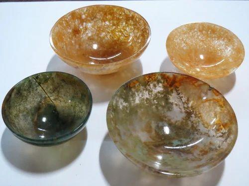 Agate Gemstone Semi Precious Stone Bowls, Size: 2 Inches And Bigger