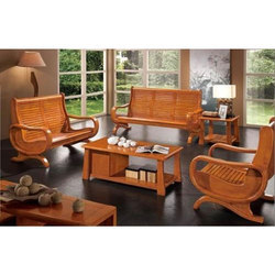 Brown 6 Seater Wooden Sofa Set
