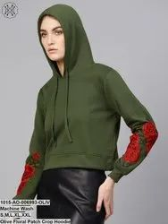 Sassafras Women Olive Floral Patch Crop Hoodie