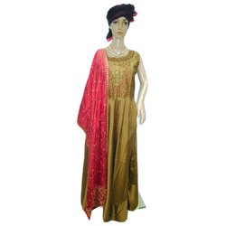 Green, Peach And Brown Silk Ladies Embroidered Anarkali Suit