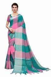Cotton Silk Party Wear Rama Saree With Blouse Piece