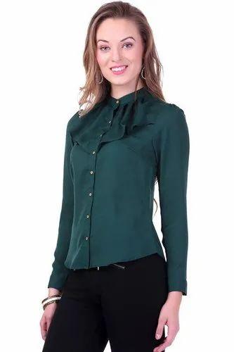 5766b93bb Green Crepe J B Fashion Women  s Top