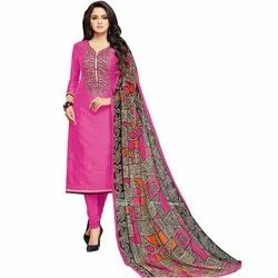 Rajnandini Pink Chanderi Silk Embroidered Semi-Stitched Dress Material With Printed Dupatta