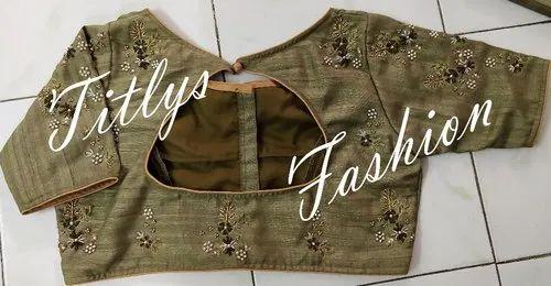 Multiple Flowers Hand Embroidered Designer Blouse