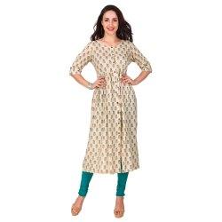 Rayon Creme Color A Line Printed Kurta for Women and Girls