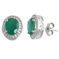 Green Agate Silver Tops Earrings