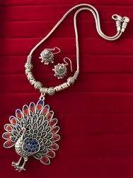 Designer Oxidized Peacock Pendent Necklace Set