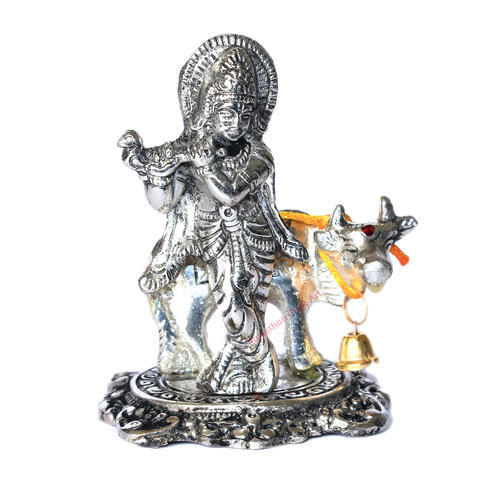 White Metal Krishna Cow Idol For Home Decor Rs 58 Piece