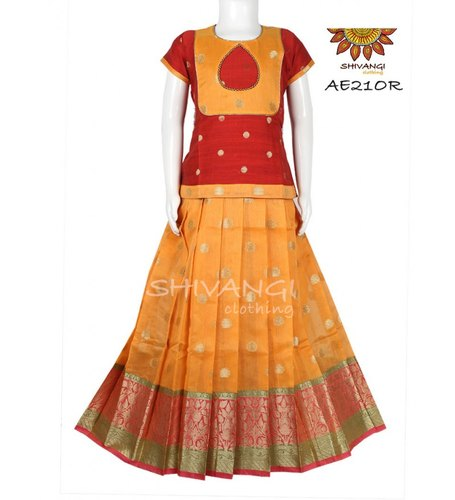 Kids Dress Orange Floral Jacquard Pattupavadai/Lehenga - AE21OR